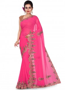 Rani Embroidered Party Designer Saree