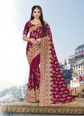 Rani Embroidered Trendy Saree