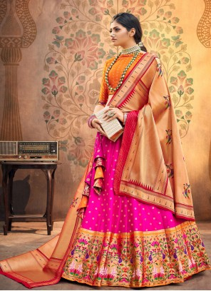 Rani Fancy Silk Engagement Lehenga Choli