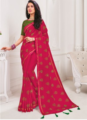 Rani Faux Chiffon Embroidered Trendy Saree