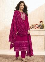 Rani Faux Georgette Designer Straight Salwar Suit