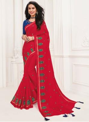 Rani Embroidered Faux Chiffon Classic Saree