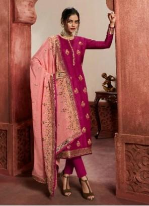 Rani Jacquard Silk Sangeet Pant Style Suit