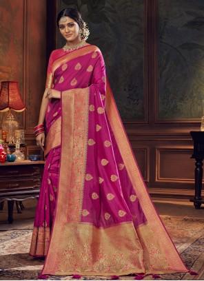 Rani Mehndi Silk Traditional Designer Saree