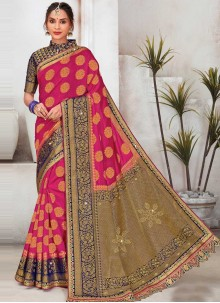 Rani Raw Silk Sangeet Designer Saree