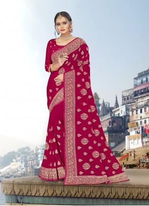 Rani Embroidered Reception Trendy Saree