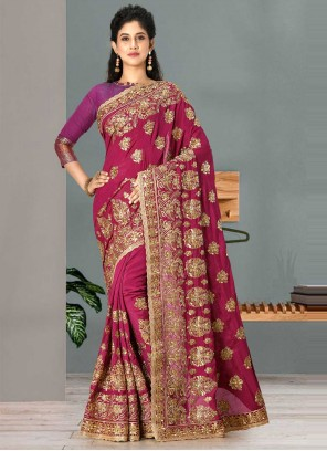 Rani Satin Silk Traditional Designer Saree