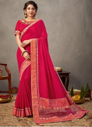 Rani Silk Patch Border Designer Saree