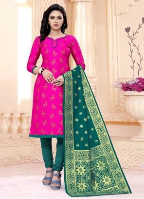 Rani Weaving Banarasi Silk Churidar Designer Suit