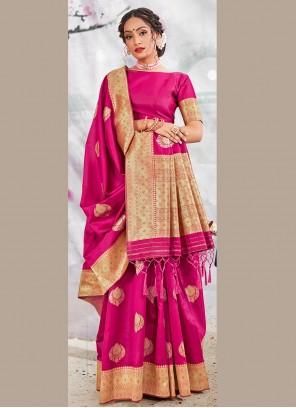 Rani Weaving Banarasi Silk Traditional Designer Saree