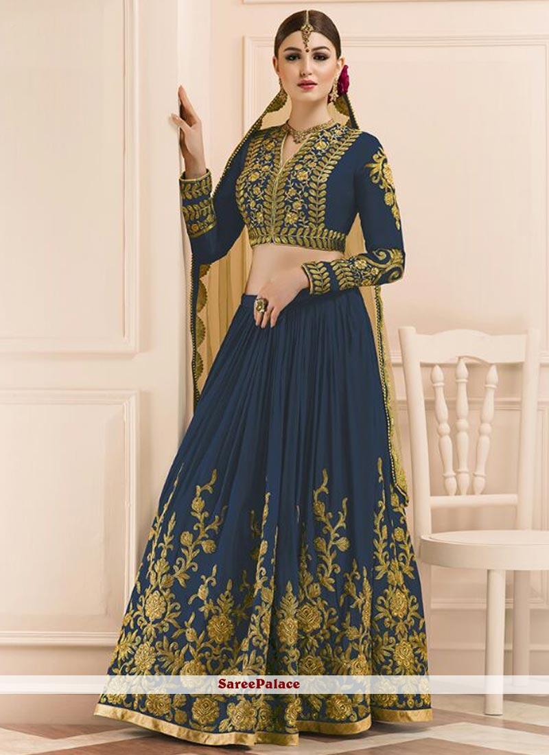 Ravishing Art Silk Navy Blue Lehenga Choli