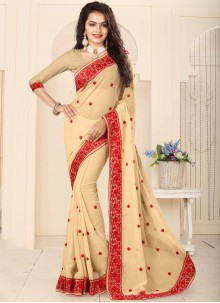 Ravishing Faux Georgette Embroidered Work Classic Saree