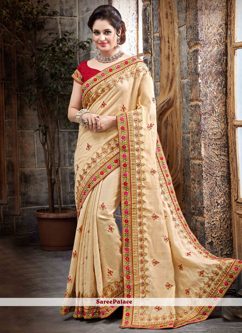 Ravishing Patch Border Work Beige Classic Designer Saree