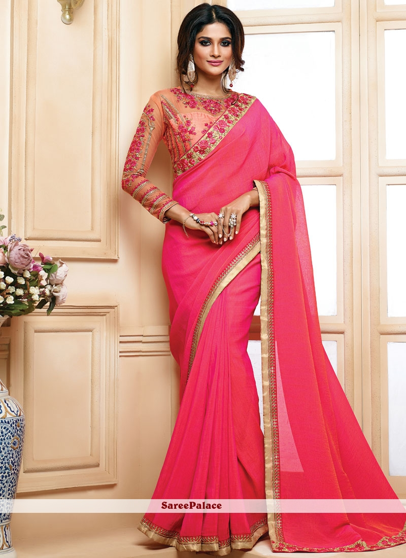11a2ab0e30 Buy Ravishing Pink Lace Work Faux Georgette Saree Online