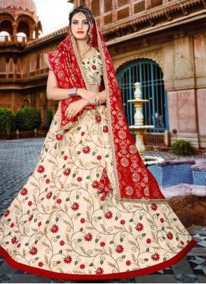 Raw Silk Beige Embroidered Lehenga Choli