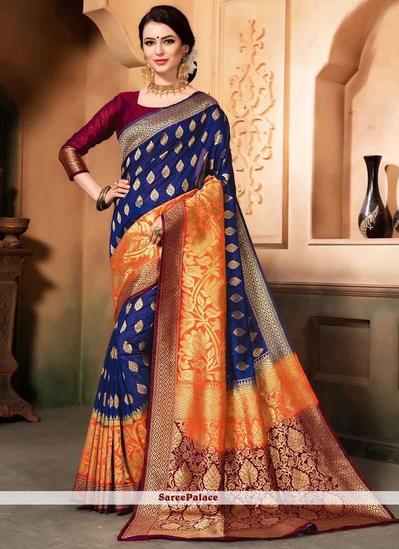 Raw Silk Blue woven Work Traditional  Saree