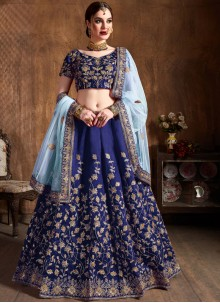 Raw Silk Embroidered Blue Lehenga Choli