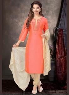 Raw Silk Embroidered Peach Churidar Salwar Suit