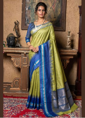 Raw Silk Fancy Green Traditional Saree