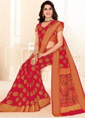 Red Raw Silk Festival Classic Designer Saree