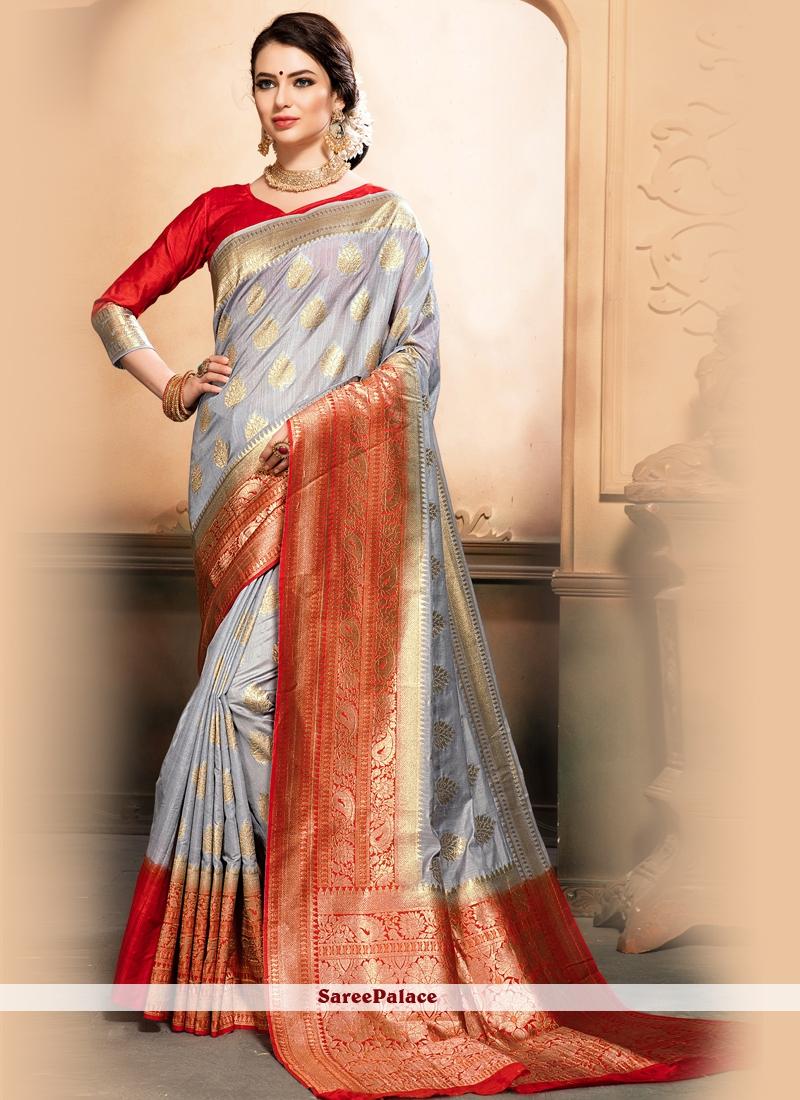 Raw Silk Grey Designer Traditional Saree