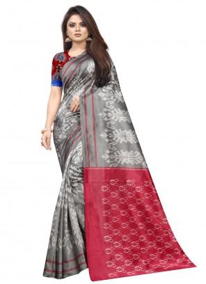 Raw Silk Grey Traditional Saree