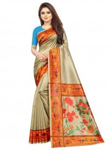 Raw Silk Multi Colour Abstract Print Saree