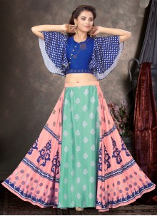 Raw Silk Multi Colour Printed Designer Lehenga Choli