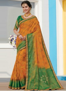 Raw Silk Orange Designer Saree