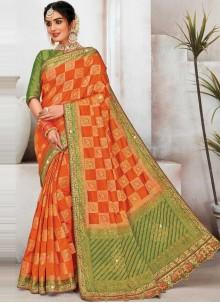Raw Silk Orange Embroidered Designer Saree