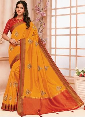 Raw Silk Orange Traditional Saree