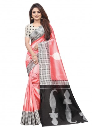 Raw Silk Pink Abstract Print Traditional Saree