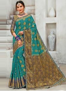 Raw Silk Rama Designer Saree