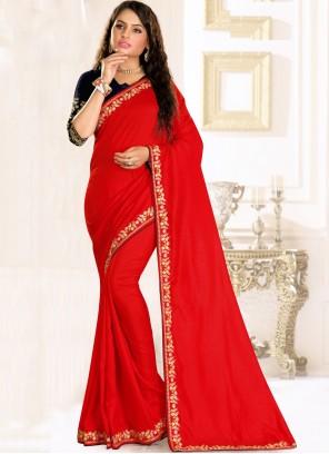 Raw Silk Red Traditional Saree