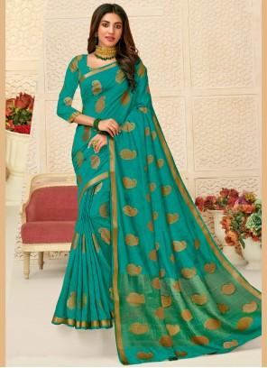 Raw Silk Sea Green Designer Saree