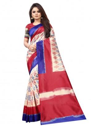 Multi Colour Raw Silk Traditional Saree