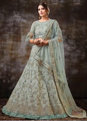 Raw Silk Trendy Lehenga Choli in Grey