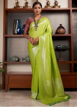 Raw Silk Weaving Green Designer Traditional Saree