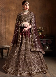 Raw Silk Wine Lace Lehenga Choli