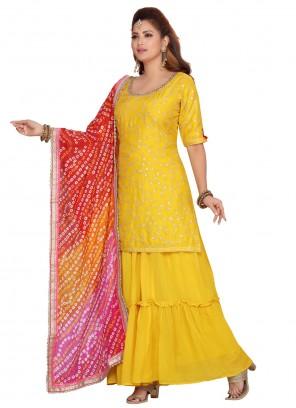 Raw Silk Yellow Fancy Readymade Suit