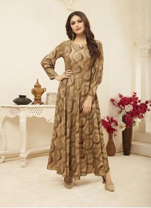 Rayon Beige Printed Designer Gown