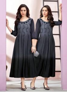 Rayon Black and Grey Designer Kurti