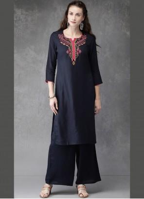 Rayon Black Embroidered Casual Kurti