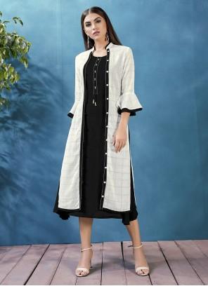 Rayon Thread Black Jacket Style Kurti