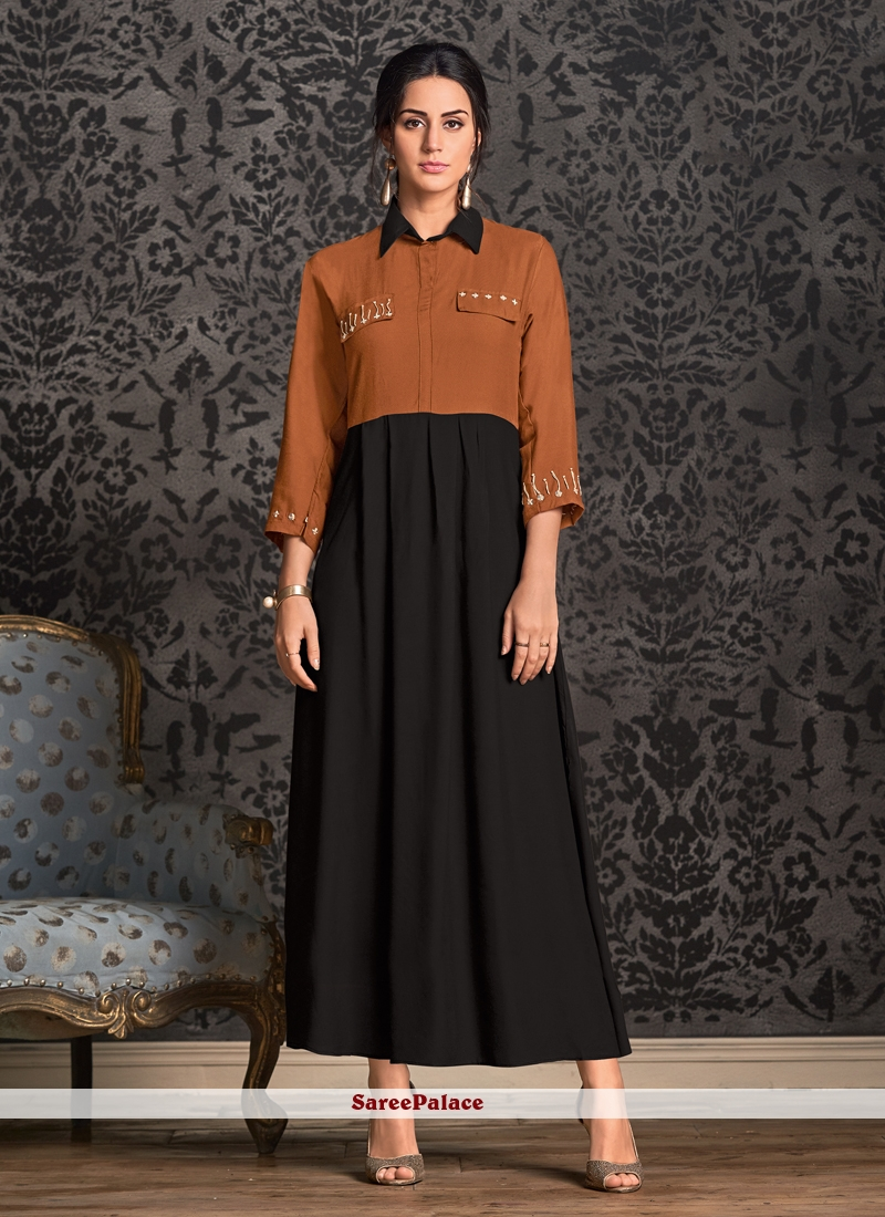 Rayon Black Party Wear Kurti
