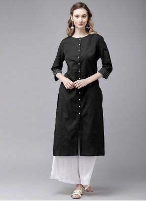 Rayon Black Plain Party Wear Kurti