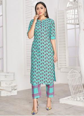 Rayon Turquoise Block Print Designer Kurti