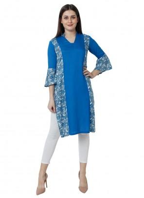 Rayon Blue Fancy Party Wear Kurti
