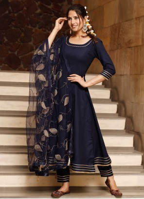Rayon Bollywood Salwar Kameez in Navy Blue