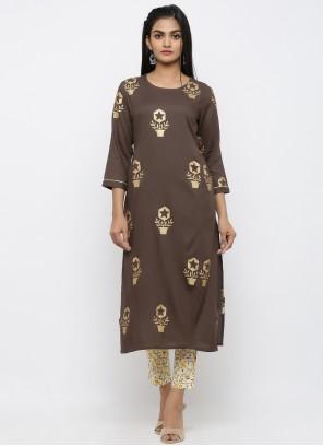 Rayon Brown Printed Salwar Suit